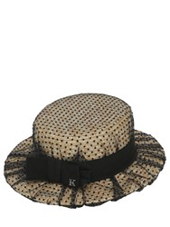 Kreisi Couture Sophie Straw Boater Hat W Tulle Overlay
