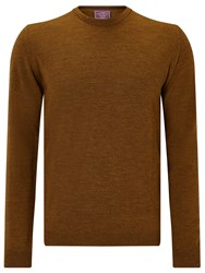 John Lewis Made In Italy Merino Wool Crew Neck Jumper Tobacco