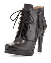 Neiman Marcus Isabelle Lace Up Bootie Black