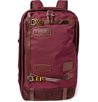 Master Piece Potential Convertible Leather Trimmed Canvas Backpack Burgundy
