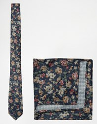 Asos Floral Tie And Pocket Square Pack In Navy Navy