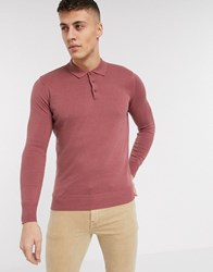 Brave Soul Knitted Long Sleeve Polo Pink