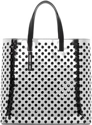 Mcq By Alexander Mcqueen Silver Perforated Void Tote