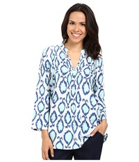 Lilly Pulitzer Sarasota Tunic Resort White Hook You In Women's Blouse Blue
