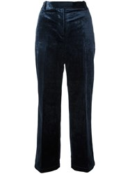 3.1 Phillip Lim Cropped Velvet Trousers Blue