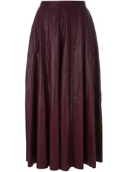Maison Martin Margiela Mm6 Pleated Leather Skirt Pink And Purple