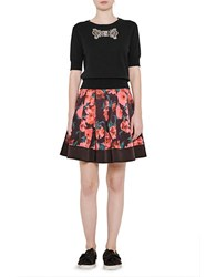 French Connection Allegro Poppy Satin Skirt Black Multi