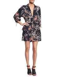 Maiyet Floral Print Kimono Shirtdress Navy Multi Colors Navy Multi