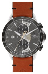Baume And Mercier Clifton Limited Edition Leather Strap Watch 44Mm Grey Brown