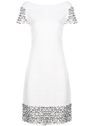 D.Exterior Frill Trim Knitted Dress White