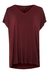 Topshop Split Side Longline T Shirt Burgundy