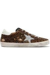 Golden Goose Deluxe Brand Superstar Glittered Leather And Distressed Leopard Print Calf Hair Sneakers Leopard Print