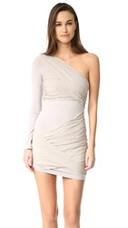 Alice Olivia Crissy Wrap One Sleeve Goddess Dress Light Grey