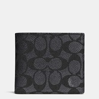 Coach Coin Wallet In Signature Canvas Charcoal