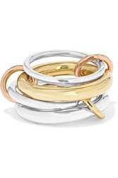 Spinelli Kilcollin Cici Set Of Four 18 Karat Yellow And Rose Gold And Sterling Silver Rings 6