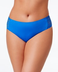 Becca Etc Plus Size Electric Current Hipster Bikini Bottoms Women's Swimsuit Water