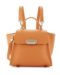 Zac Posen Eartha Leather Convertible Wing Side Backpack Apricot