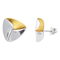 Nina B Triangular Silver Silver And Gold Stud Earrings Silver