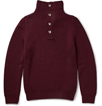 Incotex Funnel Neck Ribbed Virgin Wool Sweater Burgundy