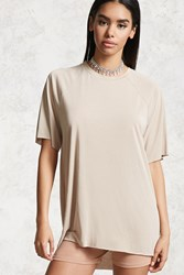 Forever 21 Raw Cut Jersey Knit Tee Nude