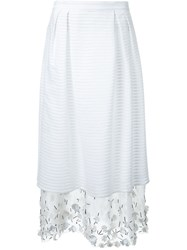 Mother Of Pearl Embellished Layered Skirt White