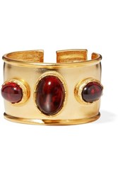 Kenneth Jay Lane Gold Plated And Tortoiseshell Resin Cuff One Size