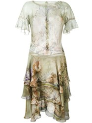 Alberta Ferretti Floral Print Dress Green