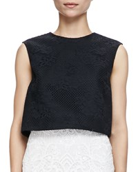 Monique Lhuillier Sleeveless Floral Mesh Crop Shell Noir