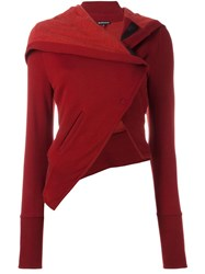 Ann Demeulemeester Asymmetric Cropped Jacket Red
