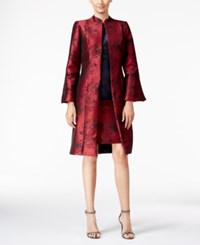 B Michael Printed Evening Topper Jacket Red Print