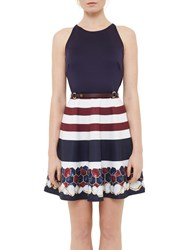 Ted Baker Annalie Rowing Stripe A Line Skater Dress Navy