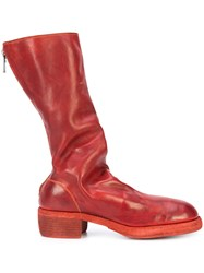 Guidi Rear Zipped Boots Horse Leather Leather Red