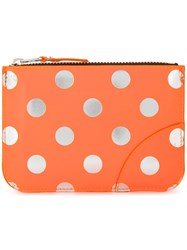 Comme Des Garcons Play Polka Dot Purse Leather Yellow Orange
