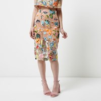 River Island Petite Pink Floral Embroidered Midi Skirt