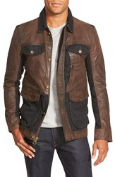 Timberland 'Tenon' Leather And Twill Mixed Media Jacket Cocoa