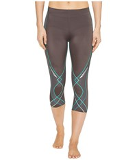 Cw X Stabilyx 3 4 Tight Charcoal Teal Gradation Women's Workout Brown