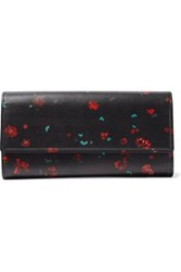Iro Floral Print Leather Continental Wallet Black