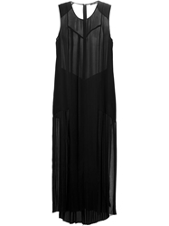 Blk Dnm Sheer Panel Maxi Dress