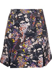 Carven Floral Jacquard Mini Skirt Purple