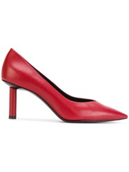 Stella Luna Cubic Heel Pointed Pumps Leather Red