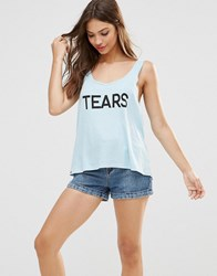 Wildfox Couture Tears Tank Top Honolulu Blue