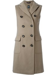 Eleventy Double Breasted Sleeveless Coat Grey