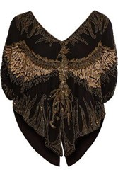Haute Hippie Lace Up Embellished Silk Top Black