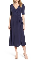 Chaus 'S Laura Faux Wrap Midi Dress 529 Evening Navy