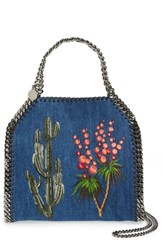 Stella Mccartney Mini Falabella Embroidered Denim Tote