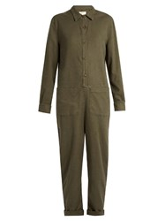 The Great Coverall Tapered Leg Canvas Jumpsuit Khaki