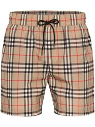 Burberry Checked Swim Shorts Brown