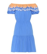 Peter Pilotto Pallas Embroidered Cotton Off The Shoulder Dress Blue