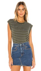 Frank And Eileen Tee Lab Tank In Green. British Army And White Stripe