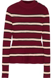 Etoile Isabel Marant Devona Striped Stretch Knit Sweater Burgundy